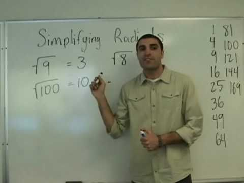 Algebra - Simplifying Radicals. The teacher is a bit wordy but explains it well