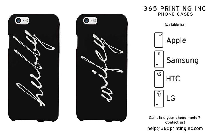 Hubby and Wifey Cursive Black Matching Couple Phone Cases Anniversary Gift
