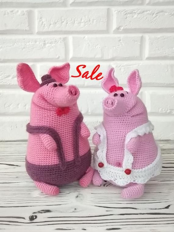 knitted piggy handmade amigurumi toys unusual toy gift present toys souvenir interior little piggy m
