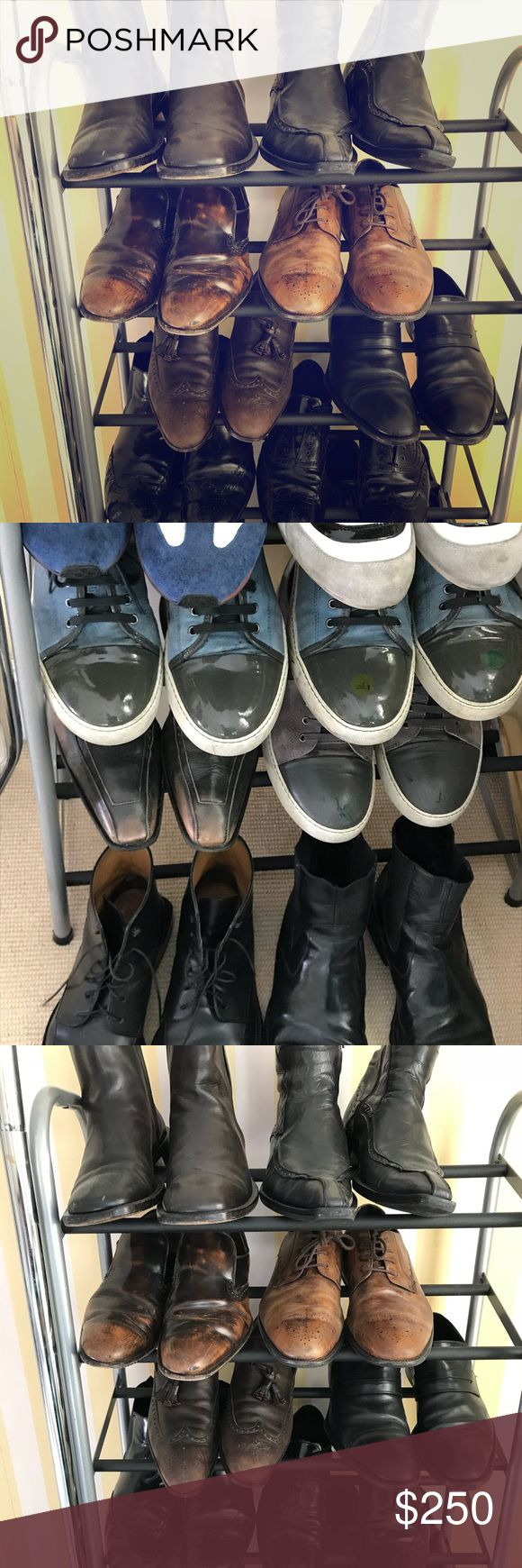 Bundle of men's high end designer shoes We are moving out and hubby decided not to take his shoes with him. They are all Authentic,used but in good condition . Brands are: Gucci ,Louis Vuitton , Prada, Christian Dior ,Lavin and etc. Selling as a bundle only! Gucci Shoes