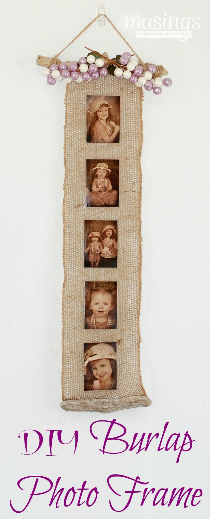 Burlap Photo Frame - beautiful decoration for any home, plus a great homemade gift idea                                                                                                                                                     Más