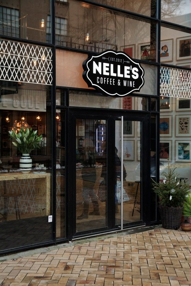 Photo from Nelle's Coffee  Wine in Denmark. Interior design and identity by Stupid Studio.