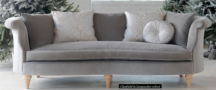 The Clanfield looking very cosy and inviting in soft grey velvet.... #WesleyBarrell