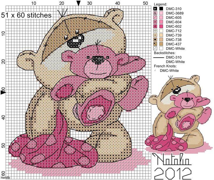 Fizzy Moon pink bear cross stitch