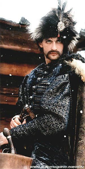 Russian actor Aleksandr Domogarov as Jurko Bohun, from the Jerzy Hoffman movie adaptation of Ogniem I Mieczem. While the character is a Cossack, he's dressed very much in Polish fashion.