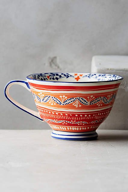 Anthropologie EU Saga Mug. Magical horses and mythical birds from the pages of a Scandinavian folktale are brought to life in vibrant indigo.