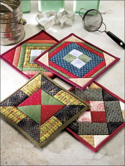 Town Square - Easy Pieced Potholders these would be good to teach quilting to beginners or the home school girls/ I informally teach.