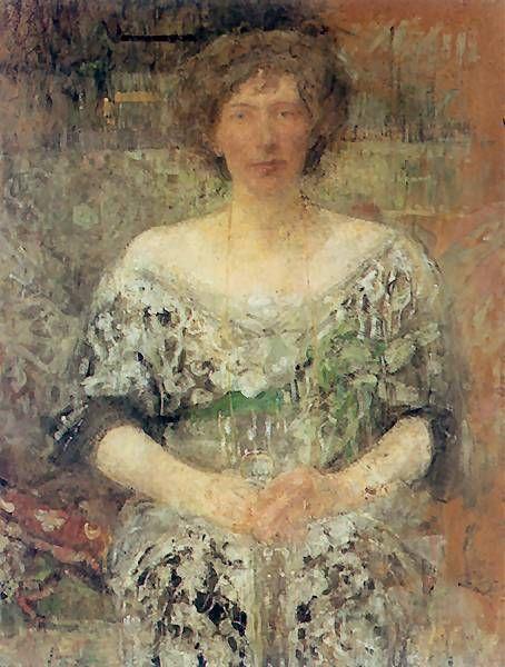 Olga Boznańska Kraków 1865 - Paryż 1940 Portret pani D. 1913. Olej na tekturze. 117 x 71,5 cm. Muzeum Orsay w Paryżu.