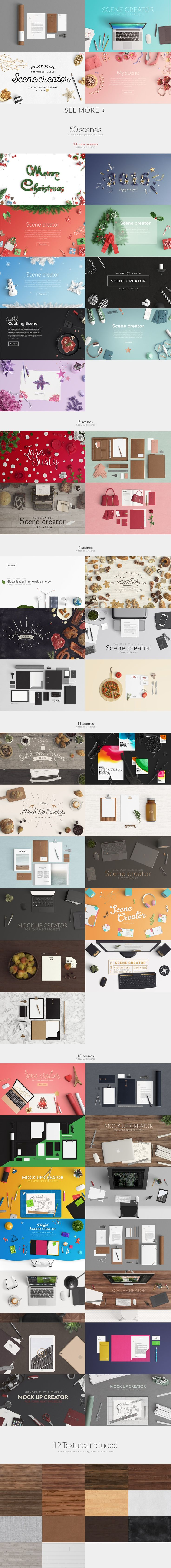 Ultimate Scene Creator Bundle with 2 different views + Extended license. Create unique scenes with 2550 item available in 8150 positions. From flat lay to stationery mock up. From desk scene to app showcase. Be a creator. Let your imagination be and create with no limit just in minutes. If you need to get started even faster, select a scene among 80.