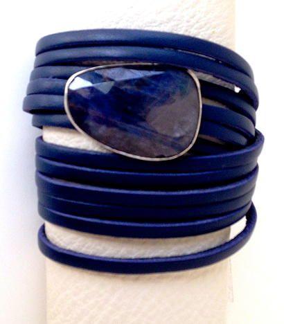 Leather multi-wrap #bracelet with blue lapis gemstone.