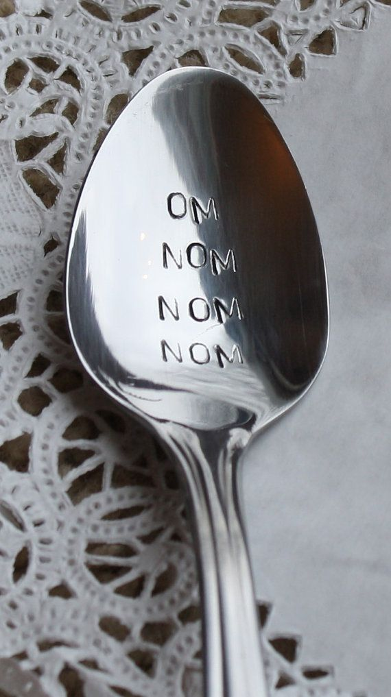 om nom nom nom hand stamped spoon dinner spoon by TiffysLove, $11.03