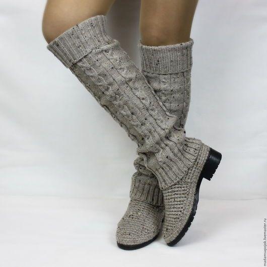 Обувь ручной работы. Ярмарка Мастеров - ручная работа. Купить Сапоги вязаные демисезонные. Handmade. Бежевый, Вязаные сапоги