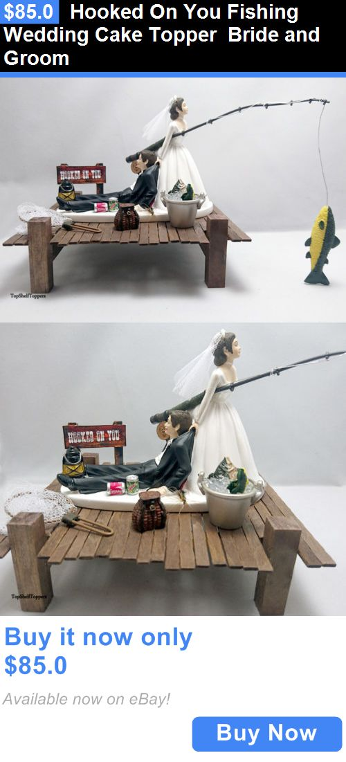 Wedding Cakes Toppers: Hooked On You Fishing Wedding Cake Topper Bride And Groom BUY IT NOW ONLY: $85.0