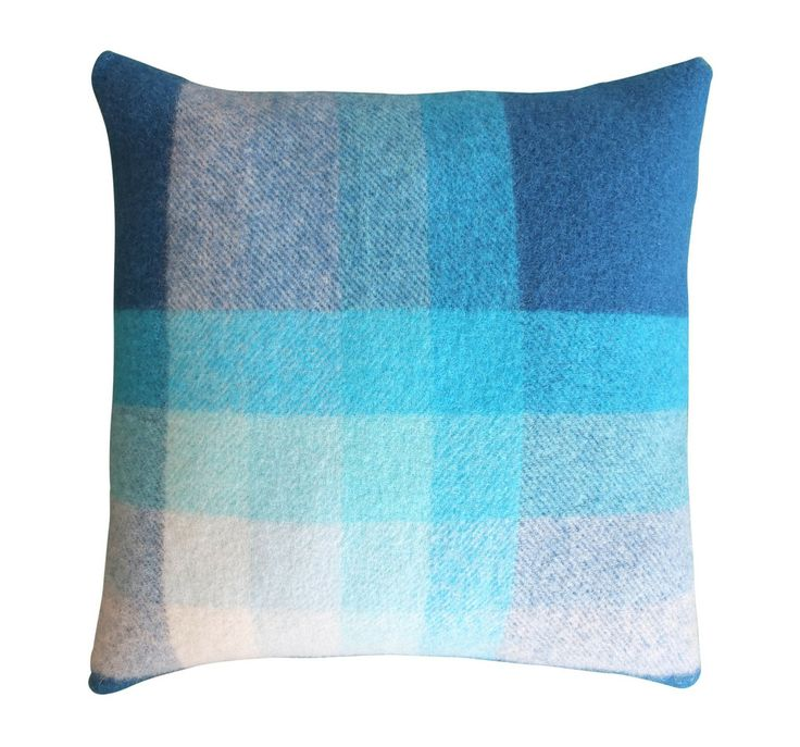 Blue Vintage Wool Blanket Cushion - Scented Soy Candles, Kids Clothing, Chair Covers   Queen St Collection