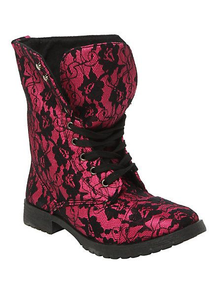 Millie Lace Fuchsia Boot | Hot Topic