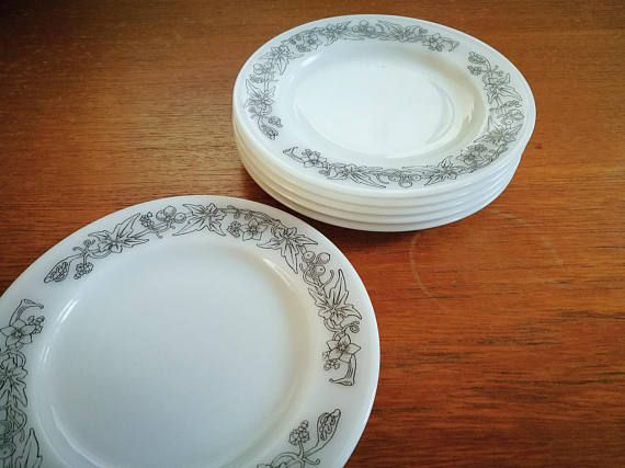 RARE Pyrex pattern, 1st ever Pyrex tableware pattern, Opalware, Pyrex side plate set of 6, Wild Bryony pyrex plates, Pyrex salad plates