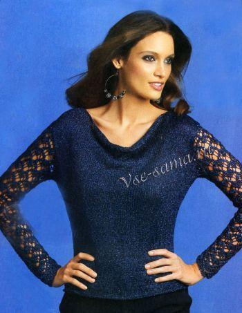 Пуловер с кружевными рукавами, фото