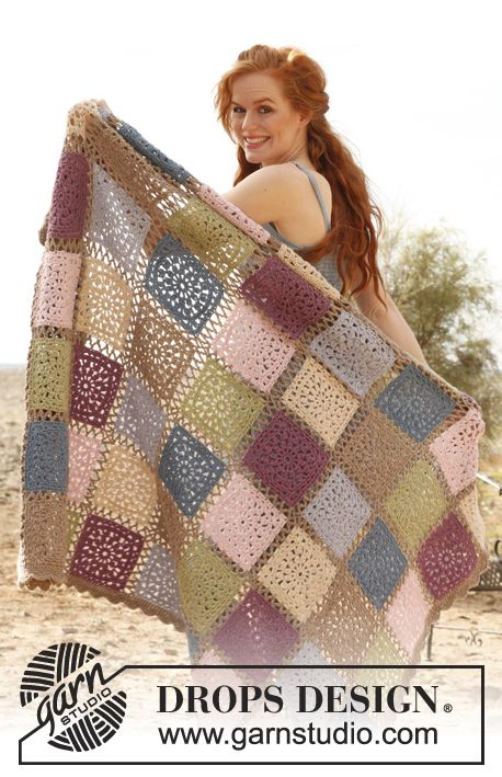"Crochet DROPS blanket with squares in ""Lima"". ~ DROPS Design.  Beautiful colors!"