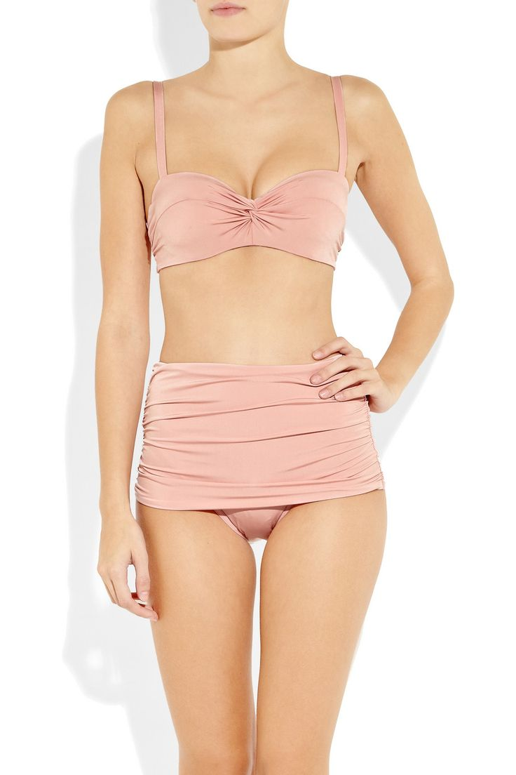 Karla Colletto Ruched high-waisted bikini briefs. I want swimsuit bottoms just like this.