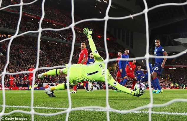 David de Gea, pictured saving from Emre Can, was superb for Manchester United