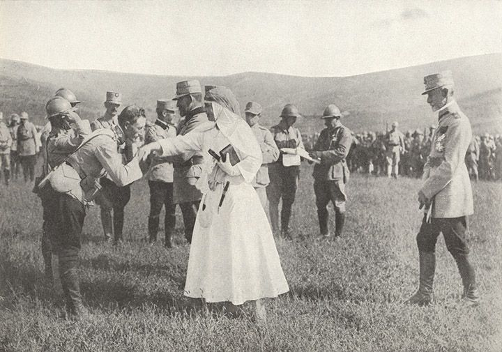 Queen Marie of Romania /among soldiers at the front The Sphere, 9 March 1918