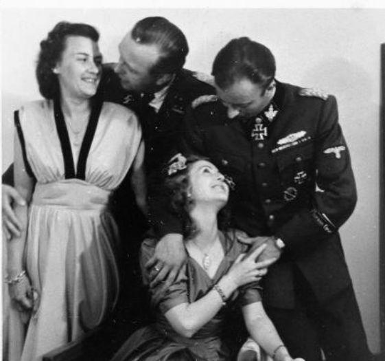 Eva Braun and Friends at the wedding of her sister Gretel and Hermann Fegelein.  From left to right: Herta Schneider (Evas friend), Waldemar Fegelein, Eva Braun and Hermann Fegelein ….