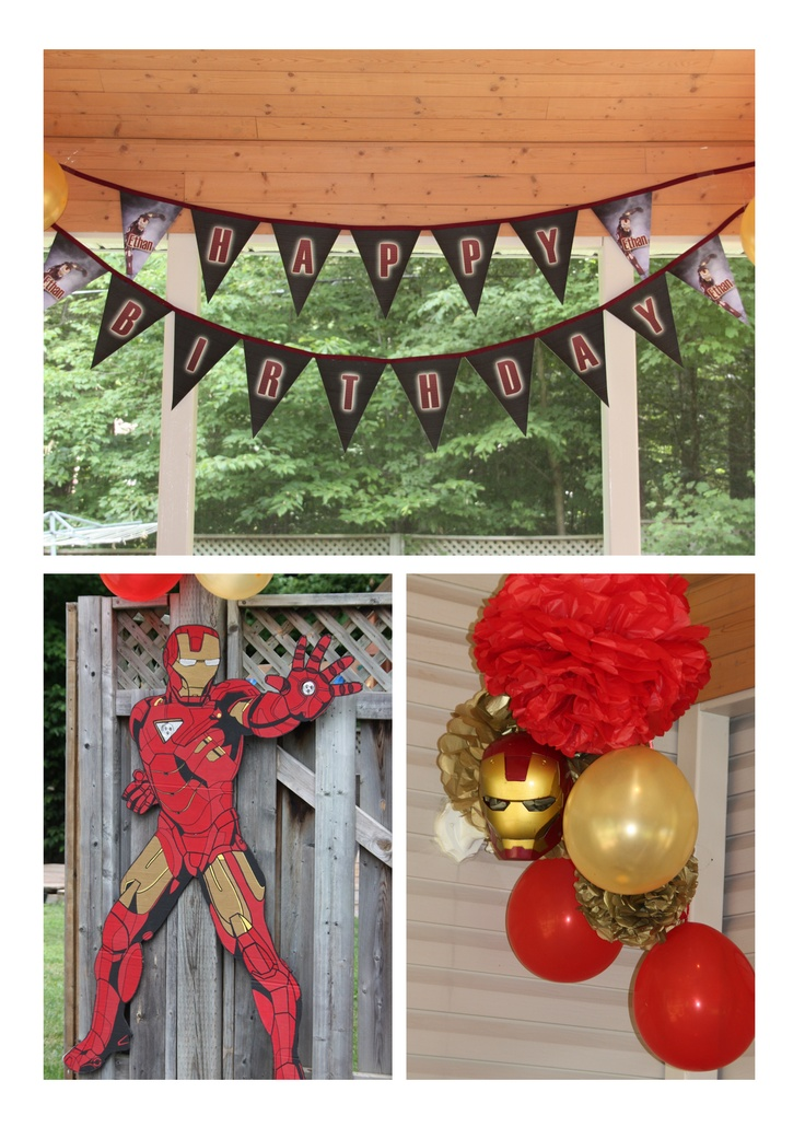 Elias wants  an Iron Man Party, i cld draw the ironman and like the red and gold balloons