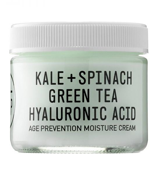 This lightweight face cream is loaded with superfoods including kale, spinach and green tea—and hyaluronic acid to moisturize. It also has anti-aging properties and a refreshing scent. Age Prevention Moisture Cream, Youth to the People $48