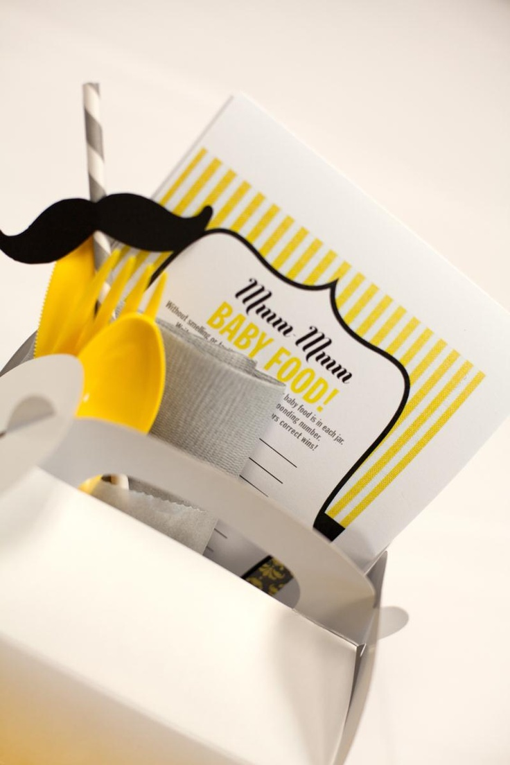 "Baby shower decor - ""My Stache"" boxes included flatware, napkins, a mustache straw, 3 game cards, a pen, and a packet of M & M's. All inclusive kits are the best way to have everything that guests need all in one place."