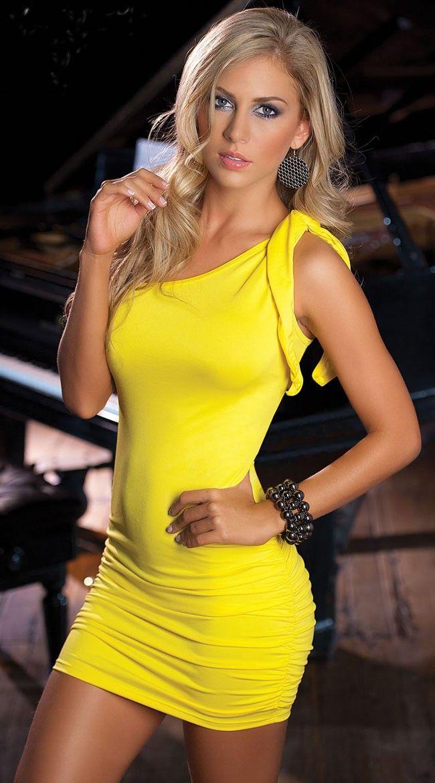 Mini dress clubwear yellow