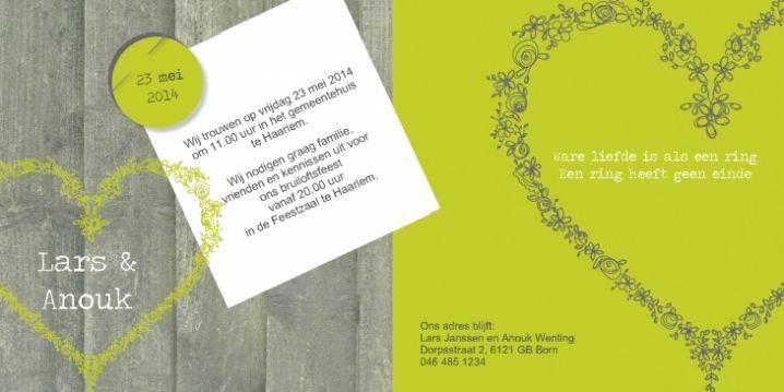 Wedding invitation/ trouwkaart designed by Zoe Brench. www.studioellienzo.nl Trouwkaart hout groen