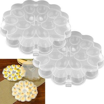 Deviled Egg Tray with Snap On Lid (Set of 2) by Trademark Global. $19.99. 82-Y3458 Features: -Set of 2 egg trays.-Each tray holds 18 eggs.-Snap on lids protect eggs. Construction: -Polypropylene plastic construction. Dimensions: -Overall dimensions: 10.8'' H x 10.8'' W x 1.8'' D. Warranty: -Manufacturer provides 30 days warranty.