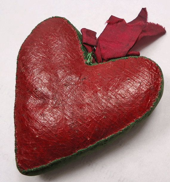Antique heartshaped pin cushion by vintagebuttonemporiu on Etsy, £18.00
