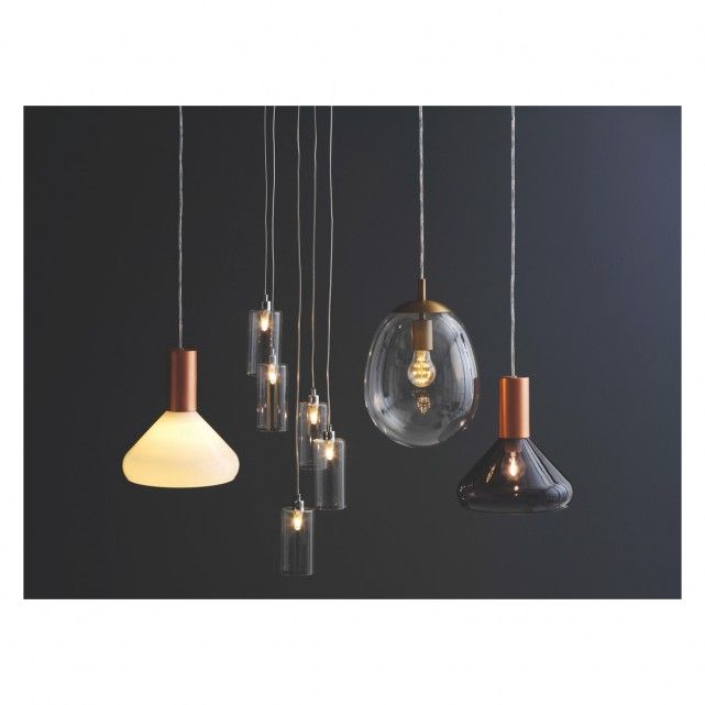 MARLOWE White Glass And Copper Ceiling Light