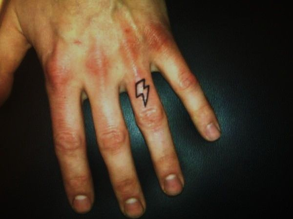 Collin Kasyan's Tattoo Portfolio: Tattoo; Lightning Bolt on Finger