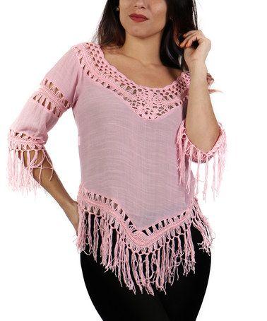 Coral Crochet & Fringe-Trim Tunic - Plus #zulily #zulilyfinds