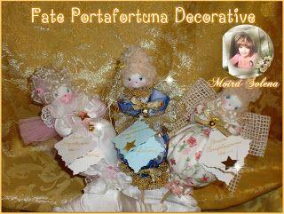 """Bambole di stoFatine Portafortuna """"BUON COMPLEANNO"""" per decorazioni torte..ma da allegare anche a confezioni regalo, mazzi di fiori e piante ornamentali.ffa"""