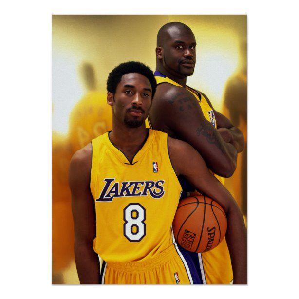 Kobe Bryant Standing With Shaq Print Zazzle Com In 2020 Kobe Bryant Pictures Shaq And Kobe Kobe Bryant Black Mamba