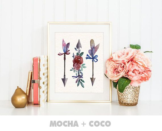 Floral Watercolor Arrows Printable Poster by MochaAndCoco on Etsy