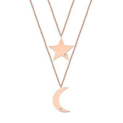 14 Ayar Altın 0,08 ct Ay ve Yıldız Pırlanta Kolye