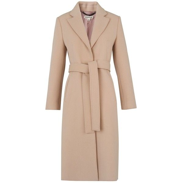 Whistles Slim Belted Coat, Pale Pink (1.145 BRL) ❤ liked on Polyvore featuring outerwear, coats, jackets, coats & jackets, long beige coat, print coat, long sleeve coat, slim fit coat and belted coat
