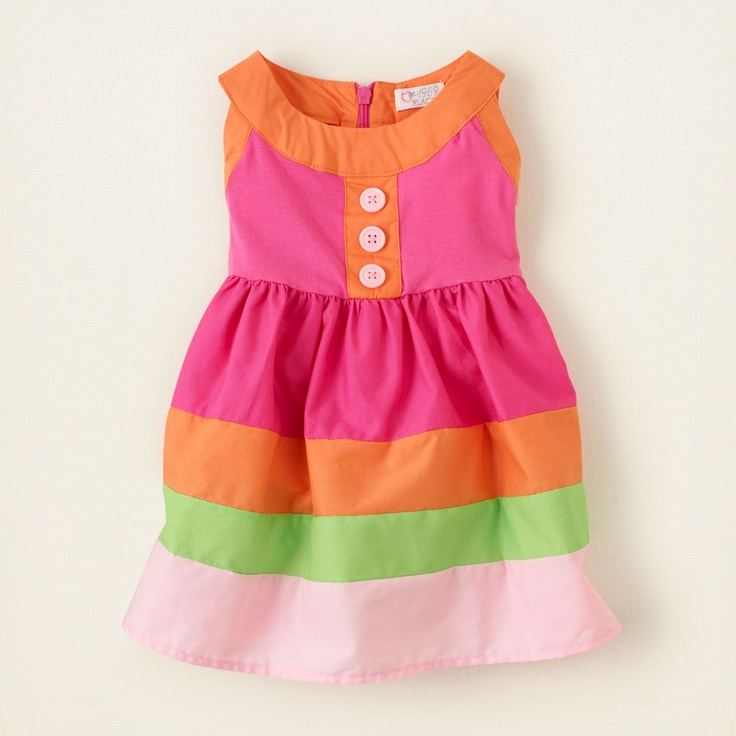 Yellow and pink color block kids dresses