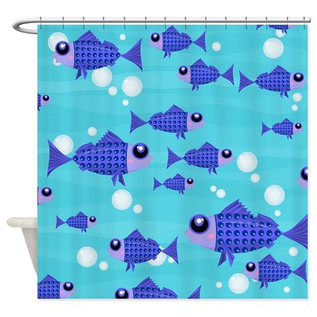Unique Shower Curtain - blue fish, bubbles, cute, Fish, kidfriendly, marine animals, nautical, nursery, ocean, sea life, waves