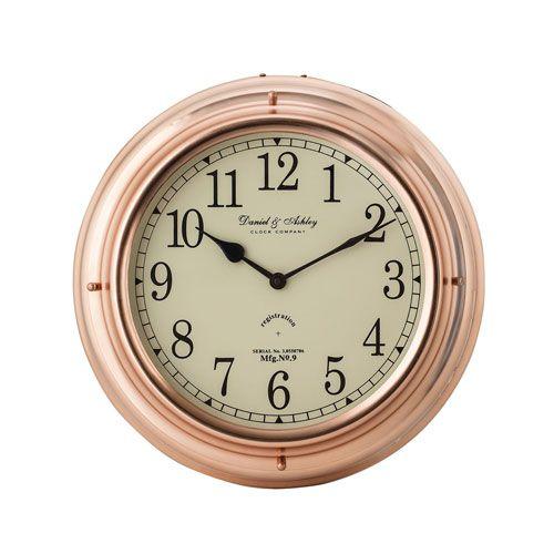 Polished Copper Nautical Clock