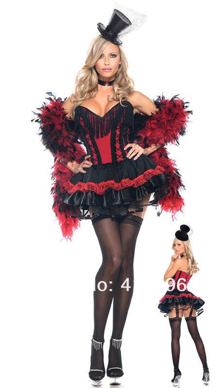 Newly Saloon Girl Costume Sleeveless Red Black Color Doing Can-Can at the Moulin Rounge Devil Costume Free Shipping ML5098 $23.98
