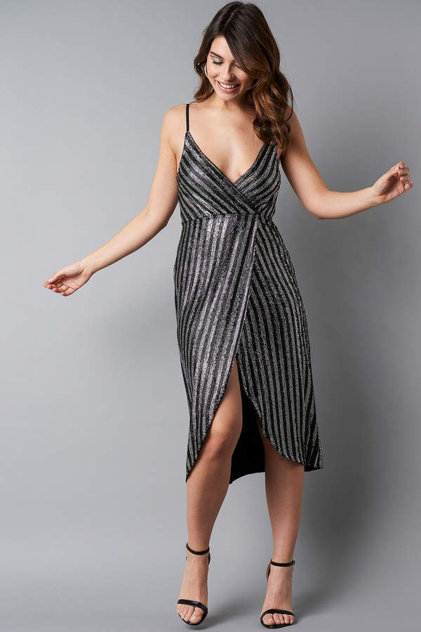 875859cc Na Kd Party Wrap Over Striped Sequins Dress Black/Silver | Party ...
