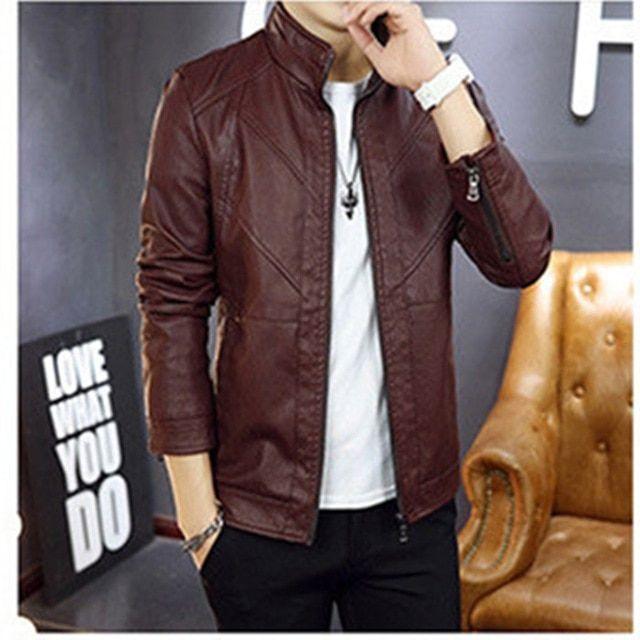 Autumn male leather jacket slim fit coat men stand collar pu coats leather biker jackets