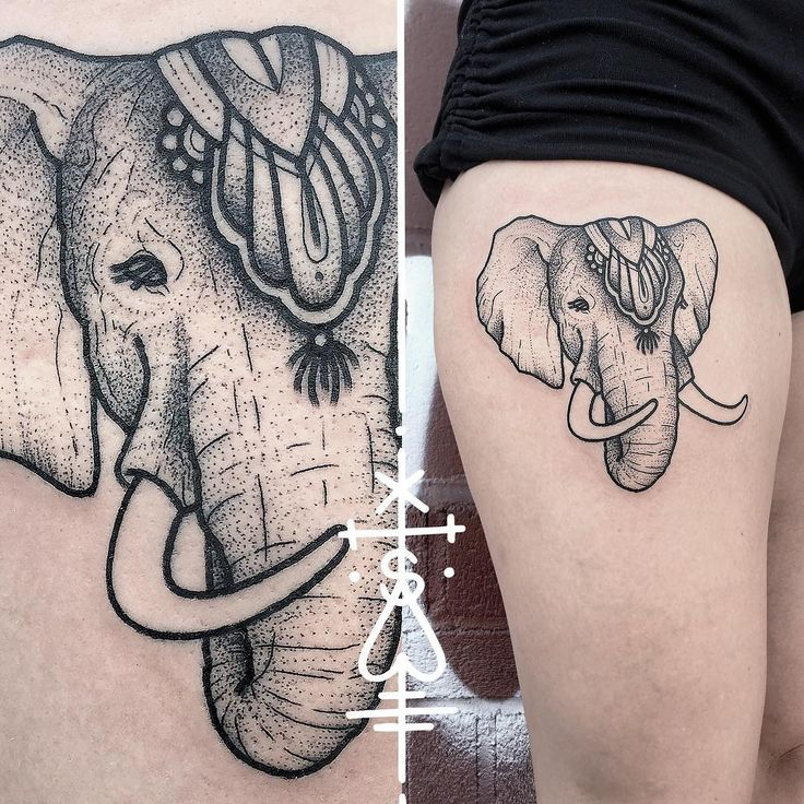 Circus Elephant Tattoo on Thigh