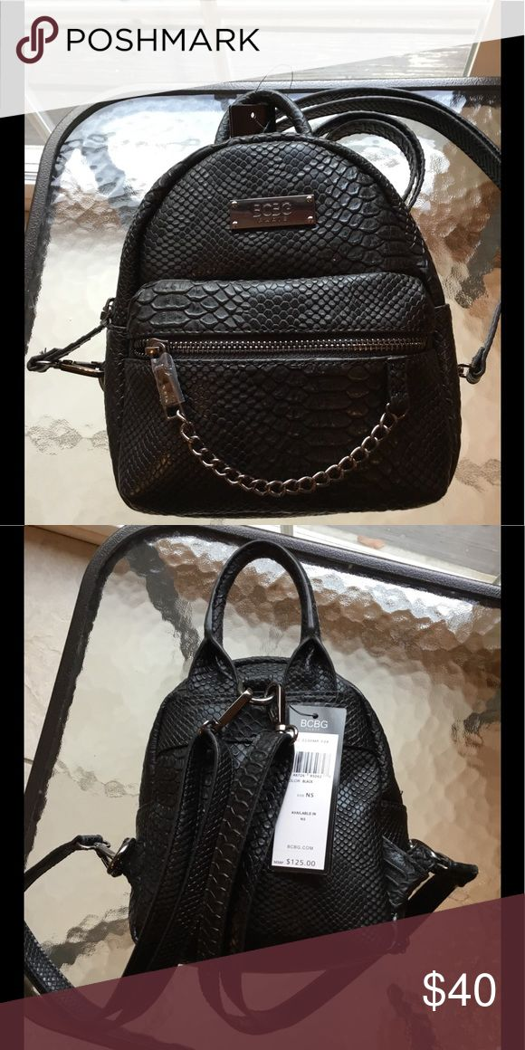 BCBG Main Street Petite Backpack NWT Beautiful reptile inspired petite backpack. The straps are adjustable and can be removed. Perfect new condition. BCBG Bags Backpacks