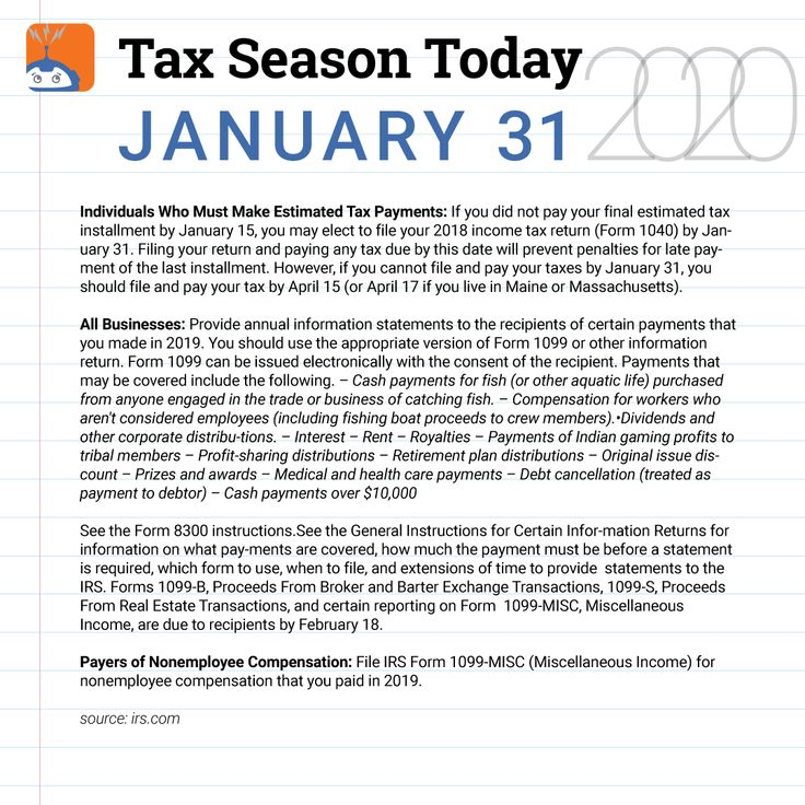 Tax Season Today for January 31, 2020 in 2020 Tax season